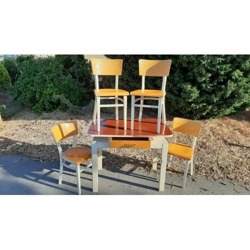 Jídelní Stůl + 4x Židle TON Thonet Socialismus Vintage RETRO