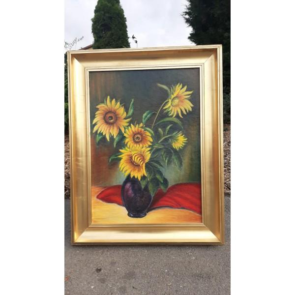 """Obraz Obrázek """"Slunečnice"""" Olej na desce Zdobený rám"""