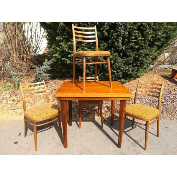 Jídelní rozkládací Stůl+4x Židle orig. TON 70.-80. léta RETRO