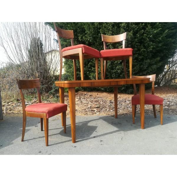 Jídelní Rozkládací stůl + 4x židle ART DECO  Ořech dýha