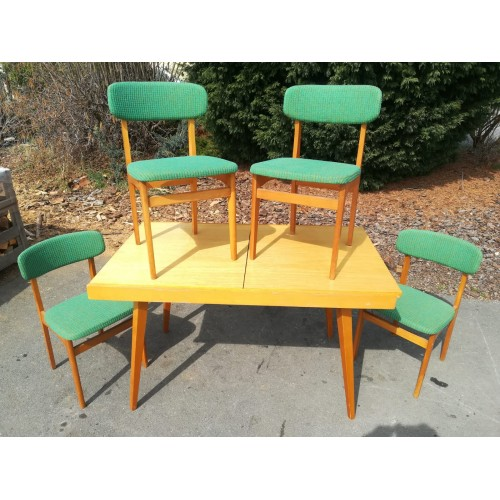 Jídelní rozkládací stůl TATRA+ 4x židle TOP STAV! RETRO