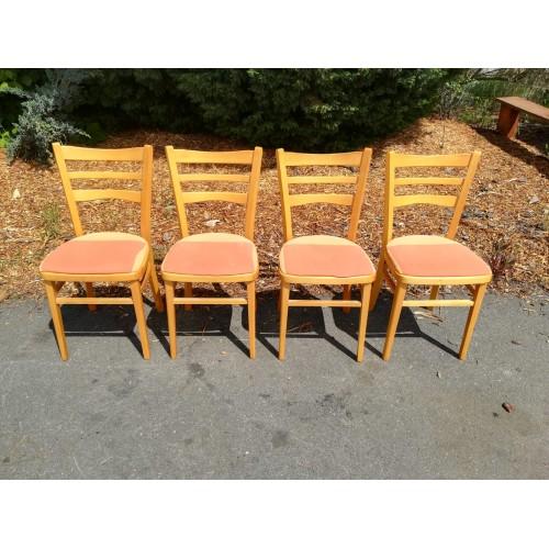 4x Jídelní Kuchyňská Židle RETRO 70. - 80. léta