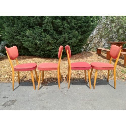 4x Starožitné Židle Kuchyňské 70.-80. léta RETRO